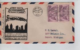 PR7458/ US Air Mail Cover C. Miami 1937 Zeppelin Indenburg In Memorium Crashed Lakehurst 6/5/37 > Detroit - Zeppelins