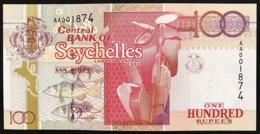 Seychelles 100 RUPEES  1998 Pick#39 AA PREFIX UNC 001874  LOTTO 2952 - Seychelles