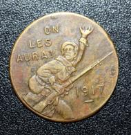 """WWI Jeton De Nécessité 1917 """"25c Alquier Frères Mazamet """"On Les Aura !"""" WW1 - Monétaires / De Nécessité"""