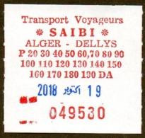 Algeria Ticket Bus Transport Alger - Dellys - Busticket -  Billete De Autobús Biglietto Dell'autobus 2018 - Monde