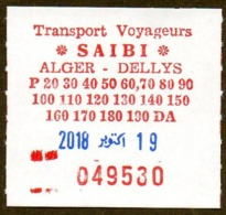 Algeria Ticket Bus Transport Alger - Dellys - Busticket -  Billete De Autobús Biglietto Dell'autobus 2018 - Wereld