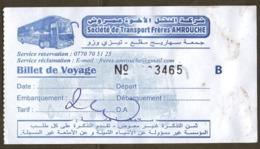 Algeria Ticket Bus Transport Tizi Ouzou - Busticket - Billete De Autobús Biglietto Dell'autobus 2018 - Wereld