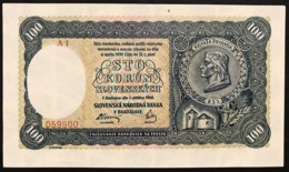 Slovacchia Slovakia  100 Korun 7-10-1940 Series - A1 Pick#11a Sup Lotto 2946 - Slowakei