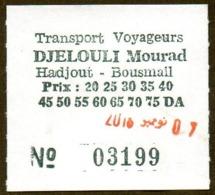 Algeria Ticket Bus Transport Hadjout - Bousmaïl - Busticket - Billete De Autobús Biglietto Dell'autobus 2018 - Monde