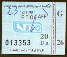 Algeria Ticket Bus Transport Oran Ville - Busticket - Billete De Autobús Biglietto Dell'autobus 2018 - Monde