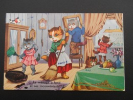 """Famille De Chats Habillés Faisant Le Ménage  """"le Ménage à Fond Et Ses Inconvénients"""" - N° 2005 - Katten"""