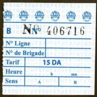 Algeria Ticket Bus Transport Tipasa - Busticket - Billete De Autobús Biglietto Dell'autobus 2018 - Wereld