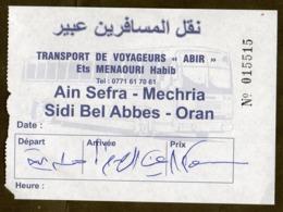 Algeria Ticket Bus Transport - Aïn Sefra - Mechria - Busticket - Billete De Autobús Biglietto Dell'autobus 2018 - Wereld