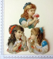 3 CHROMOS DECOUPIS GAUFRES...BUSTES DE PETITES FILLES ...FLEUR...CERISES....COLOMBES - Children