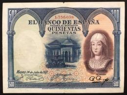 SPAGNA / SPAIN 500 PESETAS 1927 Pick#73 Lotto.2953 - [ 1] …-1931: Erste Ausgaben (Banco De España)