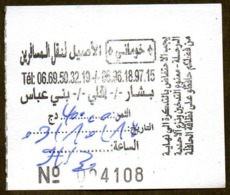 Algeria Ticket Bus Transport - Bechar - Beni Abbès - Busticket - Billete De Autobús Biglietto Dell'autobus 2018 - Monde
