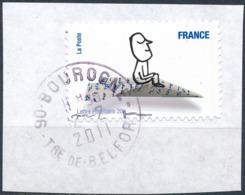 France - Sourires De Serge Bloch YT A473 Obl. Cachet Rond Manuel Sur Fragment - Francia