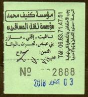 Algeria Ticket Bus Transport - Taghit - Busticket - Billete De Autobús Biglietto Dell'autobus 2018 - Monde