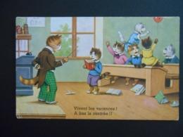 """Chats Habillés Chahutant Dans Salle De Classe - """"Vivent Les Vacances ! A Bas La Rentrée !!"""" - - Katten"""