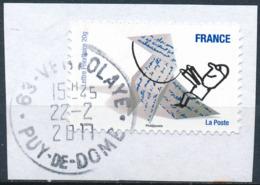 France - Sourires De Serge Bloch YT A475 Obl. Cachet Rond Manuel Sur Fragment - Francia