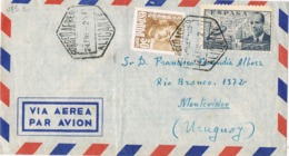 34260. Carta Aerea VILLAFRANQUEZA (Alicante) 1952 A Uruguay - 1951-60 Briefe U. Dokumente