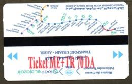 1 Ticket Transport Algeria 2019 Metro + Tramway - Algiers Alger Billete De Transporte Subway - - Metro