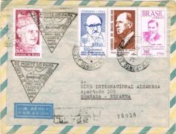34263. Carta Certificada Aerea PORTO ALEGRE (Brasil) 1966 A Granada (españa). Carteria. Morte Do PAPA - Brazilië