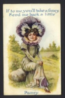 Flower Face Woman - Purple Pansy - If To Me You'll Take A Fancy Send Me Back A Little Pansy - Embossed Poem - Auguri - Feste