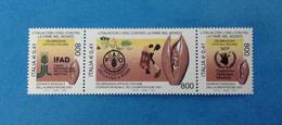 2001 ITALIA FRANCOBOLLO NUOVO STAMP NEW MNH** IN TRITTICO GIORNATA MONDIALE DELL'ALIMENTAZIONE FAO IFAD PAM - 1946-.. Republiek