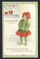 Flower Face Child - Red Geranium - Little Girl Dressed As Geranium - Embossed Poem - Auguri - Feste