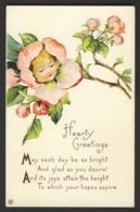 Flower Face Child - Pink Cherry? Blossom - Hearty Greetings - Poem Embossed - Auguri - Feste