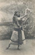 Real Photo Girl From Eastern Europe . Gypsy  Gitane  Rom  Tzigane . Playing Harp . Harpe - Europe