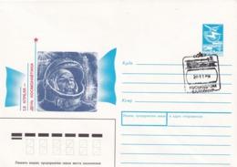 Russia CCCP 1989; Postal Stationery Cover: Space Weltraum Espace: Cosmonauts Day , Bayconur Cancellation - Raumfahrt