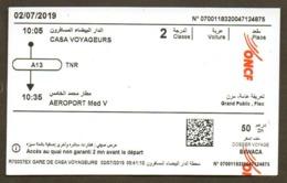 Morocco Ticket Billet  Railway Office National Des Chemins De Fer Train Tren Eisenbahn Zug Tickets - Chemins De Fer