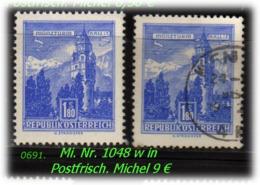 Österreich - Mi. Nr: 1048 W - In Postfrisch + Gebraucht - 1945-60 Ungebraucht