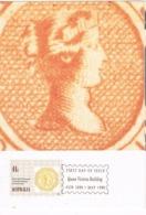 34270. Tarjeta Maxima QUEEN VICTORIA BUILDING (Australia)  1990. Stamps To Stamps - Sellos Sobre Sellos