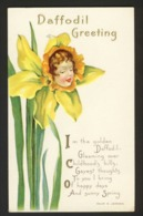 Flower Face Child - Yellow Daffodil - Daffodil Greeting - Poem Embossed - Helen E. Jeffers A/s - Auguri - Feste