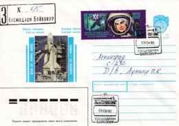 Russia CCCP 1990 Registered Postal Stationery Cover: Space Weltraum Espace: Buran, Baikonur Cancellation - Espacio