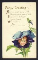 Flower Face Child ~ Purple Blue Pansy - Pansy Greetings - Hellen E. Jeffers - Embossed - Auguri - Feste