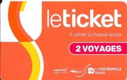 Le Ticket : 2 Voyages : Rechargeable. (Voir Commentaire) - Europe