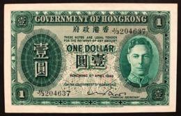 HONG KONG 1 DOLLAR 1949 GEORGE VI Pick#324 LOTTO 2959 - Hongkong