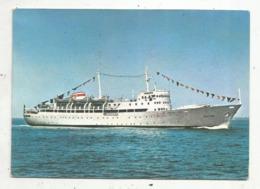 Cp , Bateau, Motor Ship OSETIA , URSS , Soviet Daube Steamship Company,voyagée - Bateaux