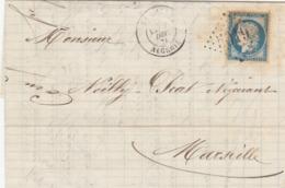 LETTRE. 7 12 75. N° 60. ALGERIE. LA CALLE. GC 5019 (BELLE FRAPPE). POUR MARSEILLE / 7246 - 1849-1876: Classic Period