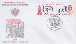 Enveloppe  FDC  1er  Jour    MONACO   JEUX  OLYMPIQUES    PEKIN    2008 - Verano 2008: Pékin