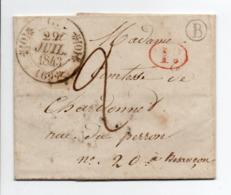 - Boite Rurale BONNEVENT (Haute-Saône) Pour BESANCON 27 JUIL 1843 - Taxe Manuscrite 2 Décimes - Décime Rural - - Marcofilia (sobres)