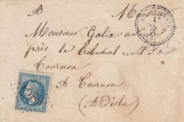 LETTRE. 27 SEPT 69. N° 29b.  ARDECHE. PERLÉ T22 VILLEVOCANCE. GC 4280 (Très Belle Frappe). FACTEUR C. POUR TOURNON /5551 - 1849-1876: Classic Period