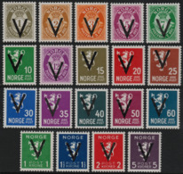 ~~~ Norwegen 1941 - Victory V Aufdruck - Mi. 239Y/256Y ** MNH - CV 100.00 Euro (N4) ~~~ - Norwegen