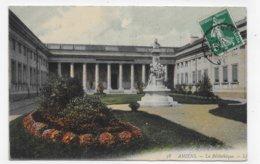 (RECTO / VERSO) AMIENS EN 1909 - N° 38 - LA BIBLIOTHEQUE - LIBRARY - BEAU CACHET - CPA  COULEUR VOYAGEE - Amiens