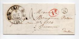 - Boite Rurale VEREUX Via GRAY (Haute-Saône) Pour BESANCON 8 OCT 1844 - Taxe Manuscrite 3 Décimes - Décime Rural - - Marcofilia (sobres)