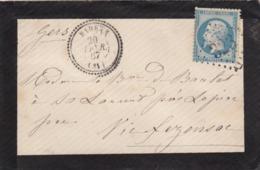 LETTRE DEUIL. 20 FEVR 67. N° 22. GERS. PERLÉ T22 BARRAN. GC 323. POUR VIC FEZENAC / 2576 - 1849-1876: Classic Period