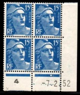Coin Daté Gandon N° 886 Du 7/2/1952 ** - 1950-1959