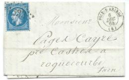N° 22 BLEU NAPOLEON SUR LETTRE / FOIX SUR ARIEGE POUR ROQUECOURBE / 1864 - 1849-1876: Classic Period