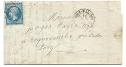N° 22 BLEU NAPOLEON SUR LETTRE / FOIX SUR ARIEGE POUR ROQUECOURBE / 1863 - 1849-1876: Classic Period