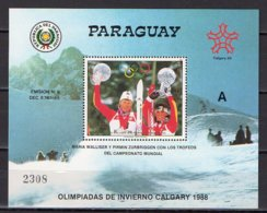 """Paraguay 1987 Olympic Games Calgary S/s """"A"""" Number MNH - Winter 1988: Calgary"""