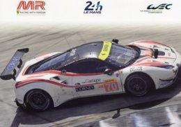 24 Heures Du Mans 2019  - Ferrari (MR Racing)  - Pilotes:Ishikawa/Cheever/Beretta  - Carte Promo 21x15cms - Le Mans